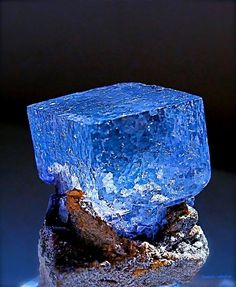 Blue Fluorite crystal on matrix from a mine in China