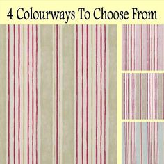 Clarke and Clarke ROMANCE LUCY STRIPE Shabby Chic CURTAIN BLIND FABRIC 4 Cols