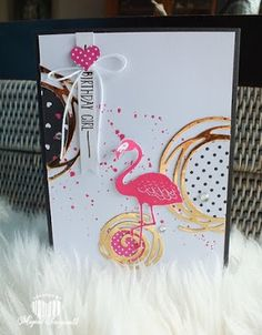 Magical Scrapworld: Birthday girl, cards, pop of paradise, pop of pink, Stampin' Up!, Swirly bird,