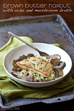 Mushroom Broth over Brown Butter Seared Halibut | A Spicy Perspective