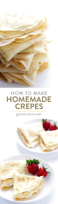A step-by-step tutorial and easy crepe recipe for how to make delicious homemade crepes. Crepe Recipes, Brunch Recipes, Breakfast Recipes, Dessert Recipes, Brunch Food, Pancake Recipes, Breakfast Sandwiches, Waffle Recipes, Weight Watcher Desserts