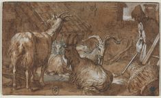 Abraham Bloemaert, 1566-1651, Dutch, A Barnyard with Goats and a Goatherd, c.1610-1615.  Pen and brown ink, brush and brown wash over black chalk, heightened with white gouache; framing lines in brown ink, Sheet: 9.2 x 15.3 cm.  Cleveland Museum of Art.  Northern Mannerism.