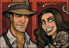 raiders of the lost ark sketch cards by grant gould.