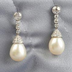 Cultured Pearl and Diamond Earpendants