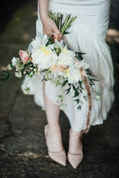 Rossetti inspired bride with gorgeous red hair, white velvet wedding dress and flower crowns. Also- I LOVE nude shoes with wedding dresses rather than white satin ones.
