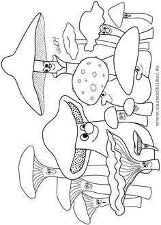 vintage halloween coloring pages Coloring Book Pages, Coloring Sheets, Nature Crafts, Fall Crafts, Free Halloween Coloring Pages, Mushroom Crafts, Doodle Drawings, Craft Activities For Kids, Digital Stamps