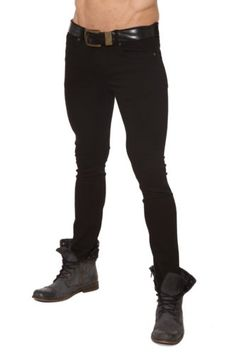 Lip Service Mens Junkie Black Stretch Twill Skinny Jeans in Clothing, , Mens Clothing, Jeans Dark Edgy Fashion, Urban Fashion, Steampunk Pants, Steampunk Fashion, Great Mens Fashion, Metro Style, Mens Clothing Styles, Men's Clothing, Super Skinny Jeans