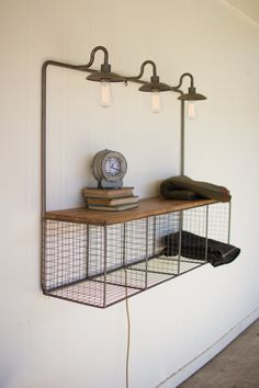 This functional home accent ticks all the boxes for a perfect storage piece, with wire cubbies, shelf and lighting all in one place! Use to showcase mementos, tchotchkes and keepsakes in a hallway or living space. Corner Wall Shelves, Cube Shelves, Wood Wall Shelf, Wall Shelving, Wall Hooks, Wood Floating Shelves, Wooden Shelves, Glass Shelves, Urban Farmhouse Designs