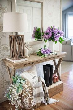 An entryway styled with Tempaper Peonies. Temporary Wallpaper Entryway Decor Ideas – Stick on wallpaper for renters - Home Decor - Style & Trends - Home Decor - Style & Trends Entryway Console Table, Entry Tables, Console Tables, Foyer Table Decor, Entry Table With Mirror, Narrow Entryway Table, Wood Entry Table, Foyer Bench, Console Storage