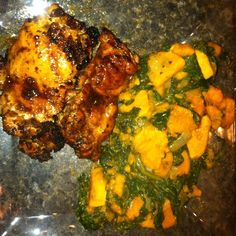 Spicy Honey Chicken with Sautéed Sweet Potato and Spinach from Mealfit.co