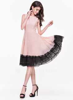 [US$ 76.99] A-Line/Princess Scoop Neck Knee-Length Chiffon Cocktail Dress With Pleated (016065504)