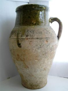 Rare Large 16thC late Medieval Tudor London green glazed pottery Beer jug