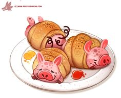 Daily Paint #1178. 'Pigs in a Blanket', Piper Thibodeau on ArtStation at https://www.artstation.com/artwork/RD66W