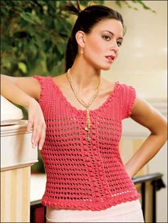 Mango Mesh Pullover - designed by Josie Rabier - free pattern available from www.free-crochet.com