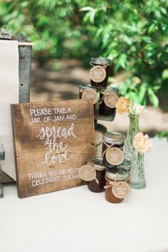 Jam favors: http://www.stylemepretty.com/oregon-weddings/hillsboro/2015/07/07/rustic-romantic-farm-to-table-wedding-inspiration/ | Photography: Christa Taylor - http://www.christataylorphotography.com/