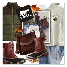 """Sorel Style - Contest Entry"" by lavida ❤ liked on Polyvore featuring SOREL, Chicwish, StyleNanda, Roberto Coin, Herno, Frye and sorelstyle"