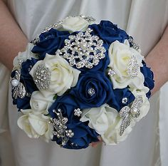 Bridal Posy Bouquet  Navy Blue and Ivory Roses  with Brooches