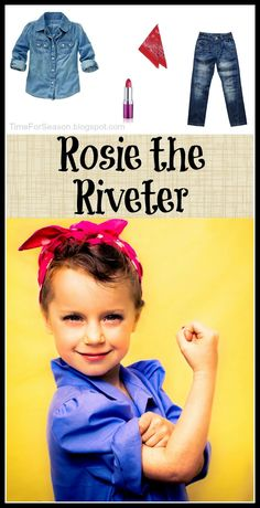 Rosie the Riveter is a timeless icon. All you need for this iconic costume is a Blue Shirt, Jeans, Red Bandana, and Bold Lipstick. Cute Bandana Hairstyles, Cute Girls Hairstyles, Little Girl Costumes, Toddler Costumes, Rosie The Riveter Costume, Rosie Riveter, Rosie The Riviter, Halloween Costumes For Girls, Halloween Crafts