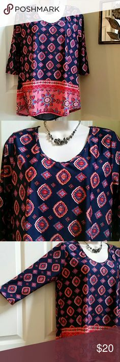 NWT Ladies High-low 3/4 Top  Size L Brand New With Tag Ladies Top from Love Spell. Scoopneck.  3/4 Sleeves. High-low. Lovely tribal print. Crepe material part on back for comfort and style (see 4th photo). Stretchy material. Polyester /Spandex.  Measurements - @SIZE L - Length 25 in front, 28 in back. Bust 19 inches  (flat armpit to armpit), Gets wider towards the bottom hem up to 23 inches flat. Tops Blouses