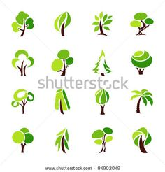 stock vector : Trees. Collection of design elements. Icons set.