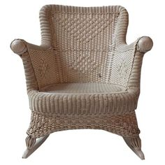 I pinned this Vintage Wicker Rocking Chair from the Antiqued Elegance event at Joss and Main! Bring timeless style to your living room or master suite with this vintage find from Kim Hoegger Home. This one-of-a-kind rocking chair rich woven detail and a lovely cream palette.