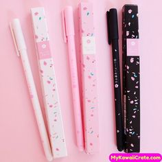 Kawaii Sakura Rollerball Gel Pen Take notes, scribble down your ideas, write messages and doodle in style with this set of three & Pomegranate Gel Ink Pens. They are filled with black gel use.