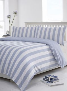 Blue Henley Stripe Bedding Set - view all - bedding sets - bedding - For The Home - BHS Beach Bedding Sets, Luxury Bedding Sets, Comforter Sets, Striped Bedding, Blue Bedding, Bedding Decor, Bed Linen Design, Bed Design, New England Bedroom