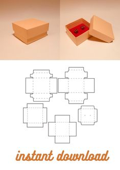 Box Templates Printable Free, Diy Gift Box Template, Paper Box Template, Origami Box, Paper Crafts Origami, Cardboard Crafts, Box Patterns, Paper Gift Box, Diy Box