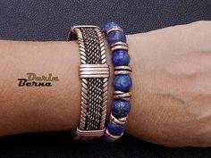 Men Lapis Lazuli braceletBeaded men braceletLapis copper men