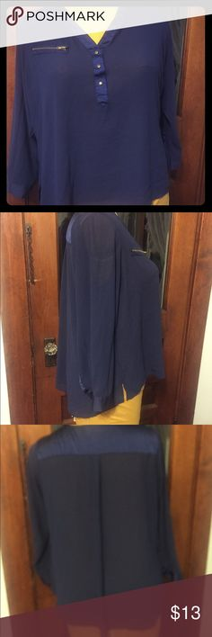 Navy Zipper silky shirt Size 18 Navy blue shirt with gold zipper pocket( not functional) gold buttons and is slightly sheer and flowy! I bought this a while ago on pm and have worn it a few times super cute! Addition Elle Tops