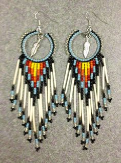 Native American Porcupine Quill Earrings by prettyuniquedesigns2, #beadwork