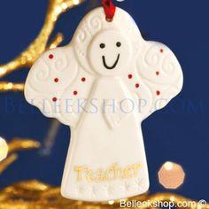 Belleek Christmas Teacher Angel - Christmas Tree Ornament