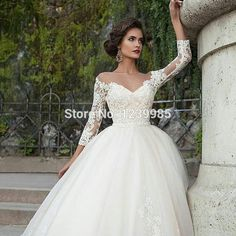 Goedkope kant applique scoop lange mouwen gezwollen baljurk tule trouwjurk 2016 bruid jurk modieuze zomer witte jurk, koop Kwaliteit trouwjurken rechtstreeks van Leveranciers van China: