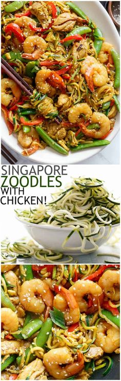A twist on the classic Singapore Noodles -- same classic flavours only low carb and low calories with Zoodles!   https://cafedelites.com