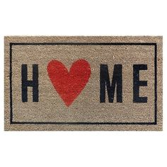 "A happy home is a home filled with love. Welcome those you love into your happy home with the Room Essentials Home with Heart Door Mat in Ebony (1'6""x2'6""). This rug is machine-tufted with a colorfast, screen-printed design for lasting wear. This would be a perfect gift for yourself or someone you love!"