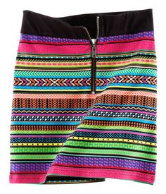 Neon Tribal Print Skirt- Fashion Against Aids. Short jersey skirt with a print, ribbing around the waist and a zip at the front. Tribal Print Skirt, Tribal Skirts, H&m Fashion, Fasion, Fashion Trends, Fashion Clothes, Kitenge, Elle Moda, Style Ethnique
