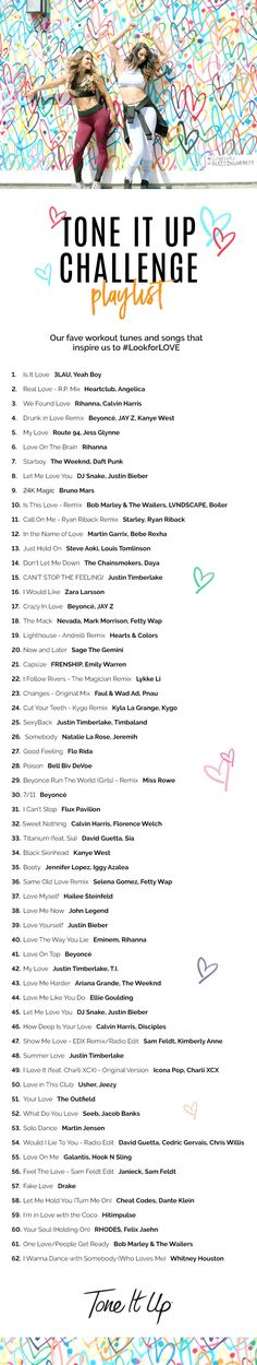We added our fave workout tunes and songs that inspire us to #LookforLOVE to a Spotify playlist on ToneItUp.com