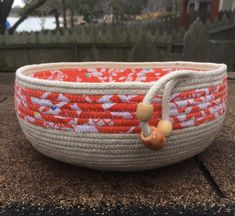 Items similar to Coiled Rope Bowl on Etsy Rope Basket, Basket Weaving, Knit Basket, Fabric Basket, Sisal, Rope Rug, Cotton Bowl, Jute, Fabric Bowls