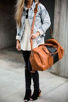 jessakae street style, weekender bag, distressed denim jacket, ray bans, street style, womens fashion, casual style, details