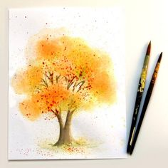 No art experience needed to paint this watercolor tree in 10 minutes! Try some fun & unusual methods to capture the glory of fall!