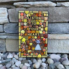 Mixed media mosaic contemporary wall art love heart wedding gift