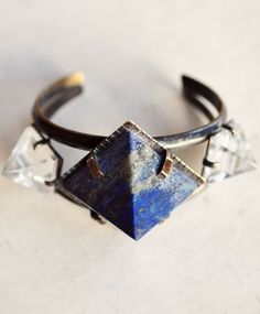 Unearthen Lapis and Clear Quartz Pyramid Cuff Fashion Necklace, Fashion Jewelry, Women Jewelry, Unique Jewelry, Cheap Jewelry, Jewelry Ideas, Fine Jewelry, Back To Black, Jewelry Accessories