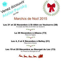 Marchés de Noël ! Venez découvrir Atelier Parisky en Savoie, en Isère et dans l'Ain. Des nouveautés à découvrir sur place !