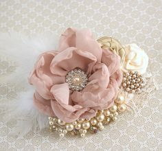 Wedding Hair Clip Dusty Rose Gold Bridal Fascinator with Flowers and Pearls Vintage Elegant Style Lace Flowers, Flowers In Hair, Fabric Flowers, Pink Fabric, Wedding Flowers, Bridal Hair Fascinators, Fascinator Hairstyles, Rosa Vintage, Vintage Roses