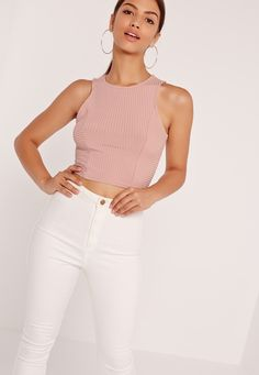 Missguided has the fiercest collection of affordable, coveted tops in the fashion universe. From crop tops & camis to shirts & bodysuits - just take a look! Pink Crop Top, Cami Crop Top, Sleeveless Crop Top, Basic Tank Top, Camisole Top, Crop Tops, Tank Tops, Ribbed Crop Top, Workout Tops