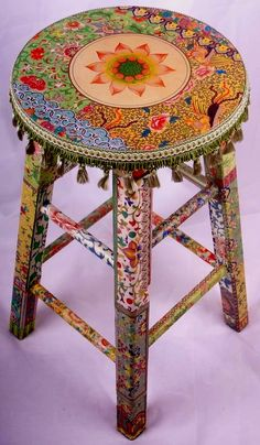 Boho stool - cool DIY idea! i will make you! and sit on you. and love you.