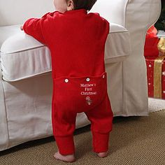Personalized babys first christmas long johns christmas gift first christmas embroidered baby romper christmas gifts christmas gifts personalized negle Choice Image