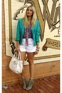 35fdcefcf97 Turquoise blazer white shorts leopard top Turquoise Blazer
