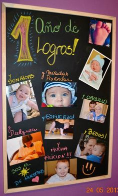 Primer cumple de mi hijo, sus fotos fueron la estrella...  Este pizarrón, es el que nos acompaña y nos mima... una idea genial para ir renovando mensajes para los integrantes de la familia! Baby Birthday, 1st Birthday Parties, Diy Bebe, Ideas Para Fiestas, Baby Shark, Baby Party, Holidays And Events, First Birthdays, Party Themes