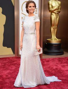 Maria Menounos, vestido color nude con aplicaciones brillantes de Johana Jhonson. Oscars 2014